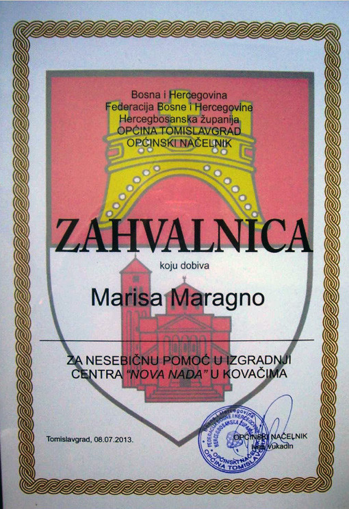 Attestato Marisa Tomislavgrad