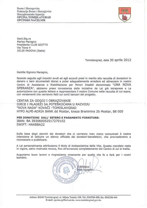 Ambasciatrice Comune di Tomislavgrad