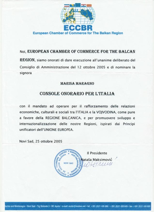 CONSOLE ONORARIO BALCANI 2005