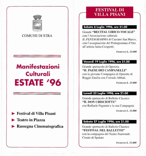 Programma Evento in Villa Pisani - 1996